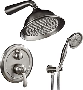 Shower System, Shower Faucet Sets Complete with Wall Mounted Shower Fixtures Rough-In Valve Body and Trim Kit (Brushed Nickel)
