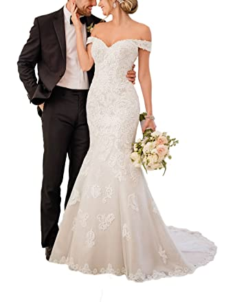 f2dde1e7a8a5 LoveMyth Women's Mermaid Sweetheart Off Shoulder Bridal Gown Lace Appliques  Backless Spring Wedding Dress For Bride at Amazon Women's Clothing store: