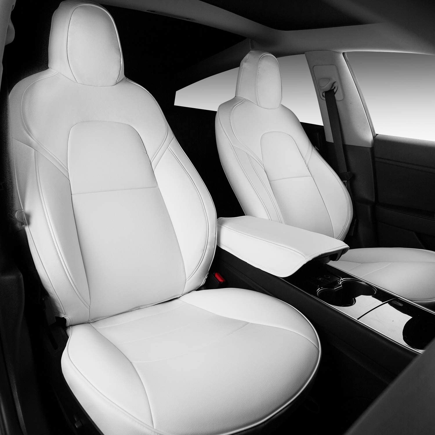 White+Black Xipoo for Tesla Model 3 Model Y Car Seat Cover PU Leather Cover All Season Protection 5pcs for Tesla Model 3 Model Y