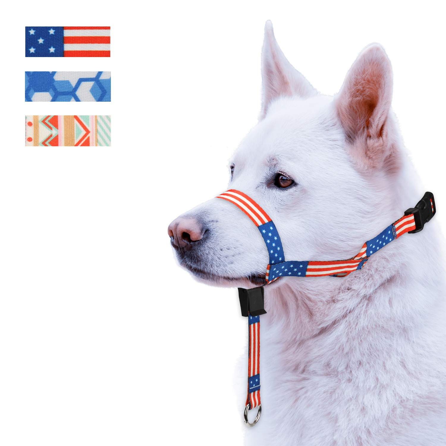 Colorful Dog Head Collar with 3 Beautiful Designs Head Harness Stops Dog Pulling Head Leash