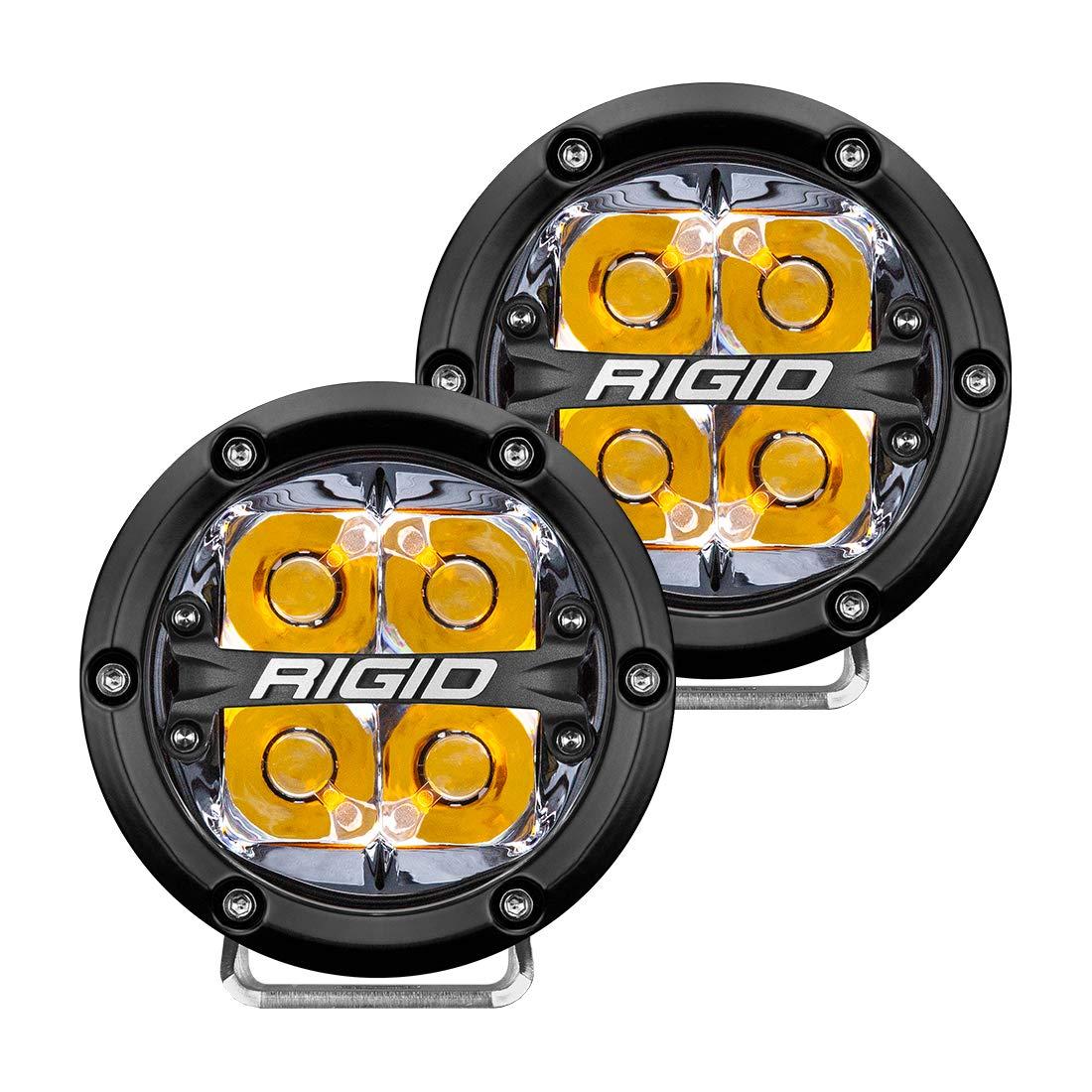RIGID 360-SERIES 4 INCH LED OFF-ROAD SPOT BEAM AMB BACKLIGHT PAIR