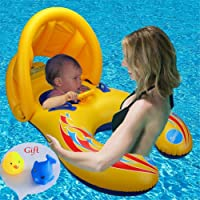 Baby Pool Float with Canopy-Mother Daddy& Baby Kids Child Swimming Ring Pool Float Toy (Double Seat Boat with Safety Handheld for 6-36 Months Baby) - Yellow