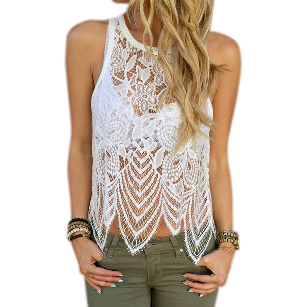 9568acfd9f Amazon.com: Women Vest Tops, Clearance! Tloowy Women Sexy Lace Crochet  Hollow Out Tank Tops Summer Sleeveless Cami Shirts: Sports & Outdoors