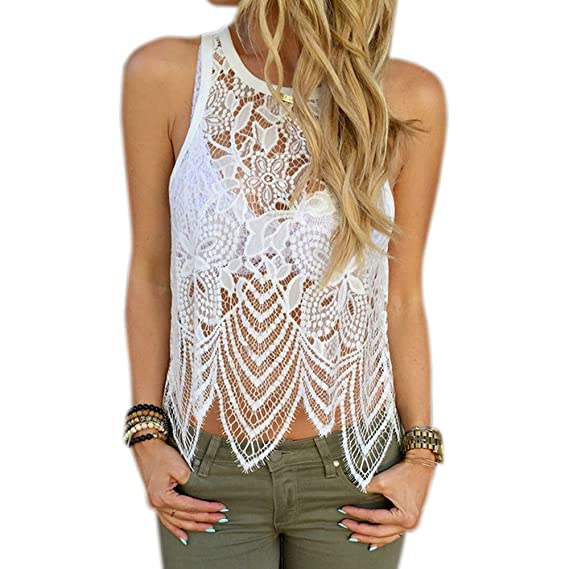❤️Creamdog❤️Women Lace Crochet Vest Tank Top Casual Sleeveless Blouse at Amazon Womens Clothing store: