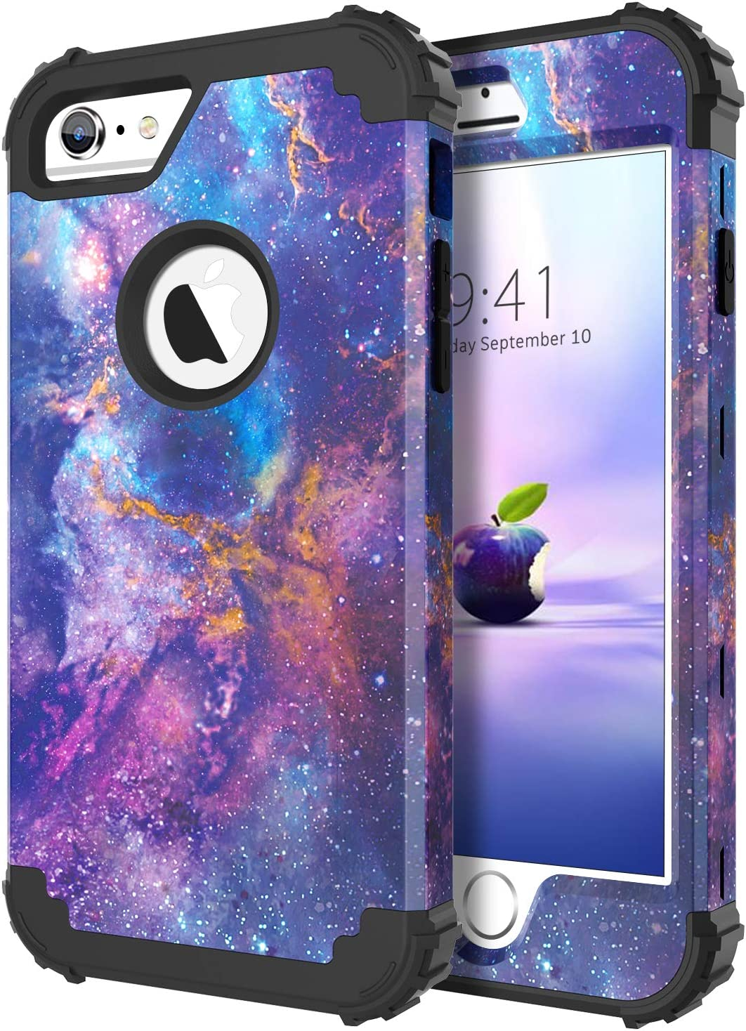 DUEDUE iPhone 6S Case,iPhone 6 Case,Nebula Stars Galaxy Design,Heavy Duty Rugged Shockproof Drop Protection 3 in 1 Hybrid Hard PC Cover Silicone Bumper Full Body Protective Case for iPhone 6S/6,Purple