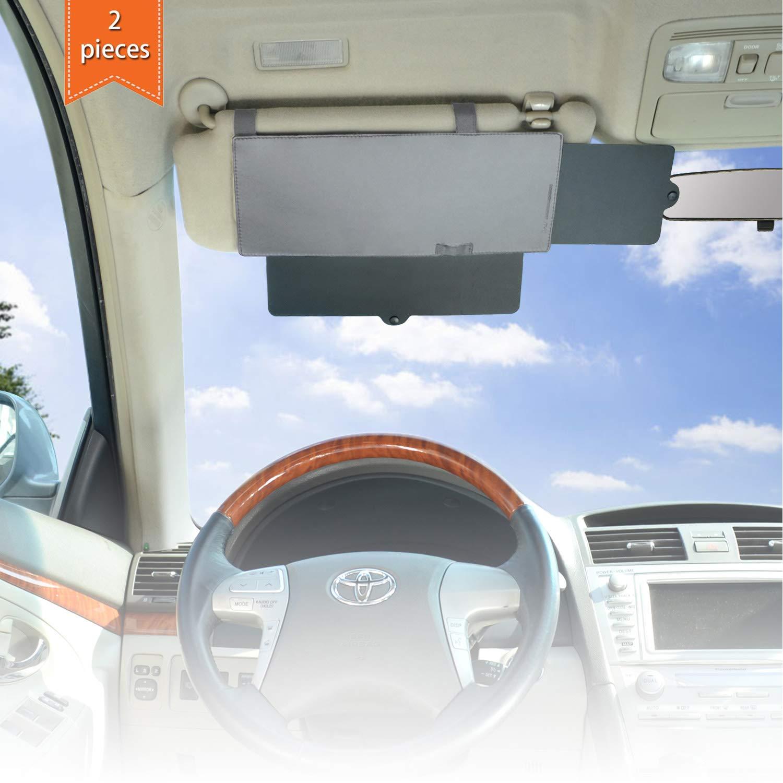 WANPOOL Auto Visiera Parasole per Auto, Visiera antiriflesso Parasole Extender per Guidatore e passeggero Sedile Anteriore –  2 Pezzi (Grigio)