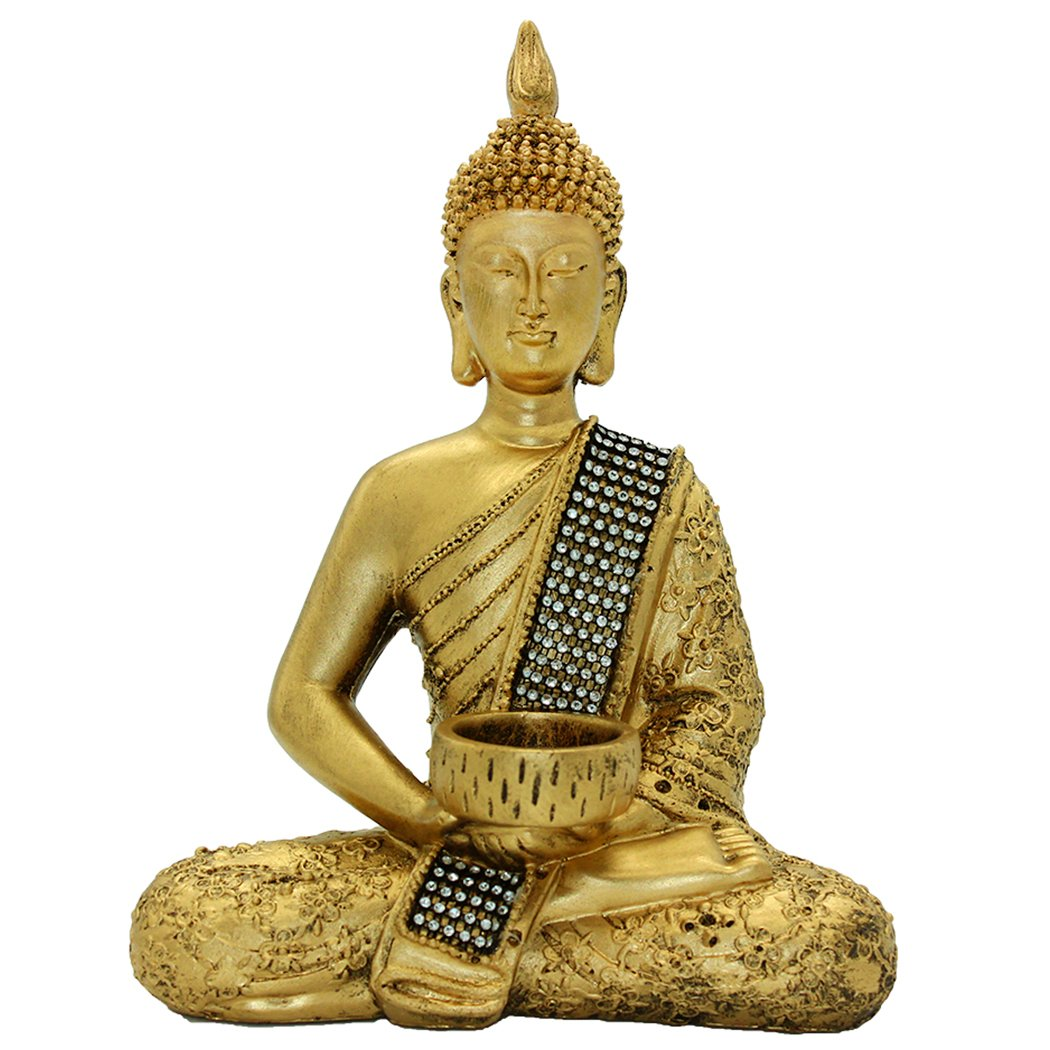 10.24''(H) Buddha Statue of Thailand Sit Buddha Ornaments Handicrafts Home Decorations BS115 by Brass Statu