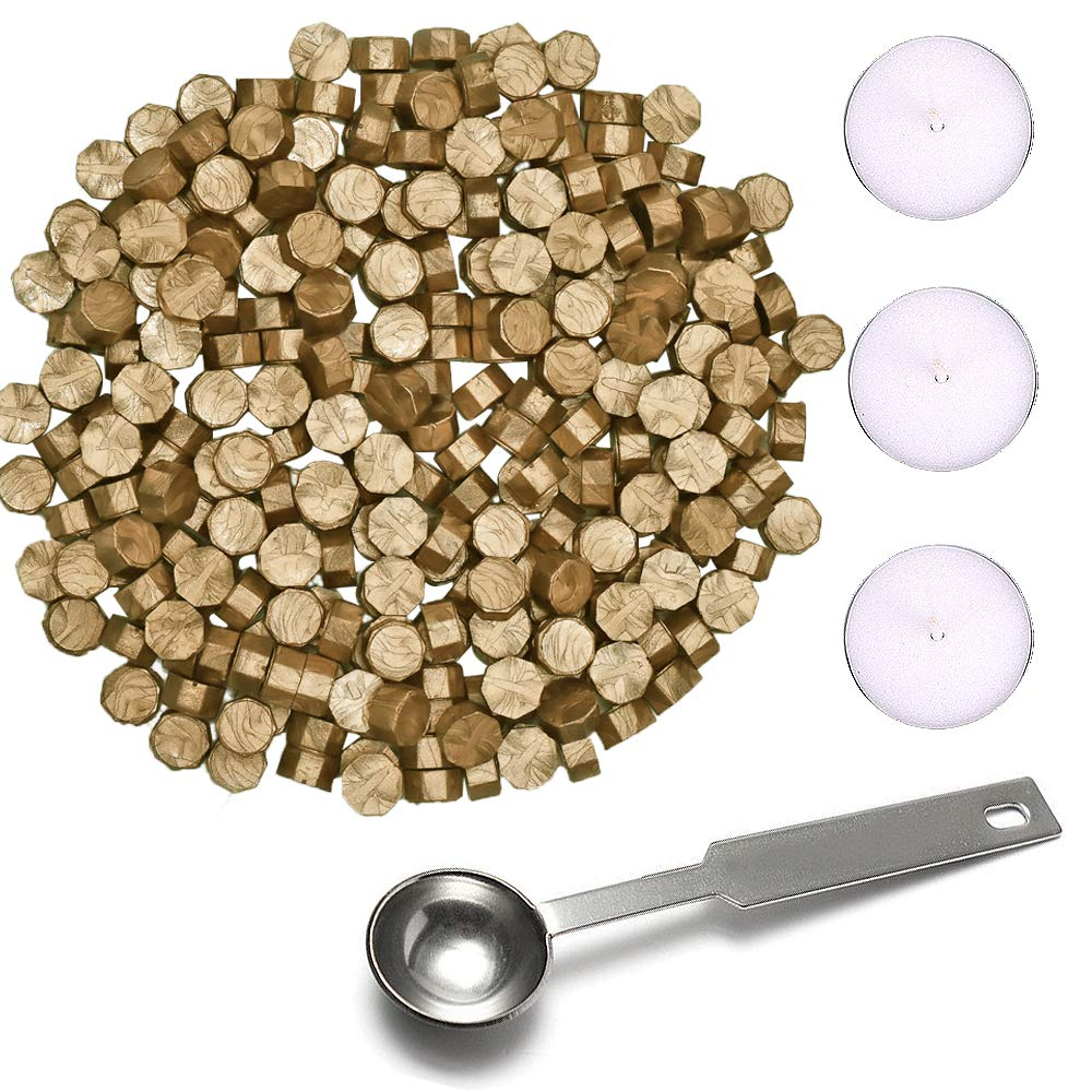 YQing Wax Seal Kit - 200 Pieces Octagon Sealing Wax Beads Sticks with 1 Piece Wax Melting Spoon and 3 Pieces Tea Candles for Wax Seal Stamp (Bronze)