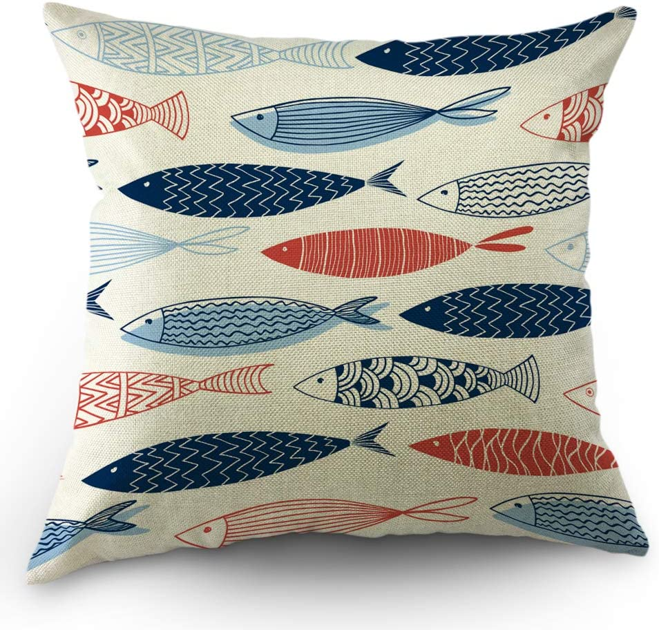 Amazon Com Moslion Fish Pillows Decorative Throw Pillow Cover Fish In The Ocean Pillow Case 18x18 Inch Cotton Linen Square Cushion Cover For Sofa Bed Blue Red Home Kitchen