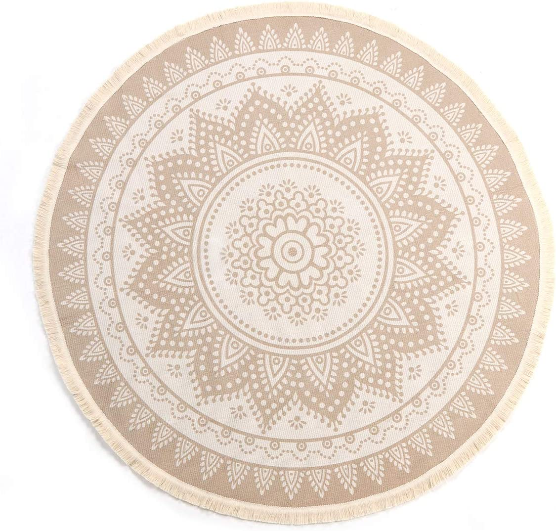 LEEVAN Round Area Rug,Hand Woven Cream Chic Bohemian Mandala Print Tassels Door Mat,Indoor Floor Area Mats Compatible Bedroom,Living Room,Children Playroom,Coffee, 4 Diameter