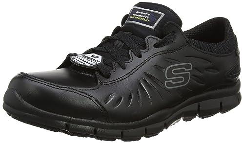 Skechers Eldred, Zapatos de Seguridad para Mujer, Negro (Blk), 35 EU