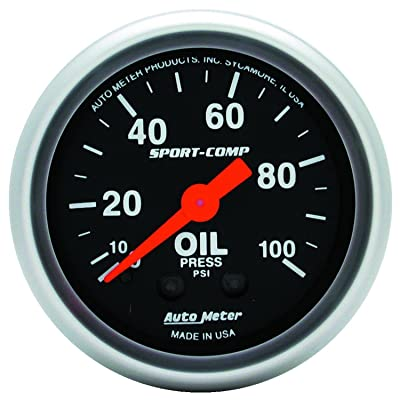 Auto Meter 3321 Sport-Comp Mechanical Oil Pressure Gauge: Automotive