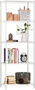 Function Home 5 Tier Wire Shelving , Metal Storage Rack Shelving Unit Storage Shelf Pantry Food Shelf Plant Shelves for Kitchen Living Room Office Garage ,White