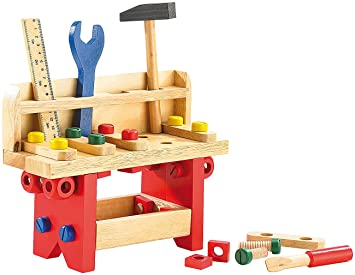 Playtastic Kinderwerkzeug: Lustige Holzwerkbank für kleine Handwerker,  51-teilig (Werkbank Kinder)