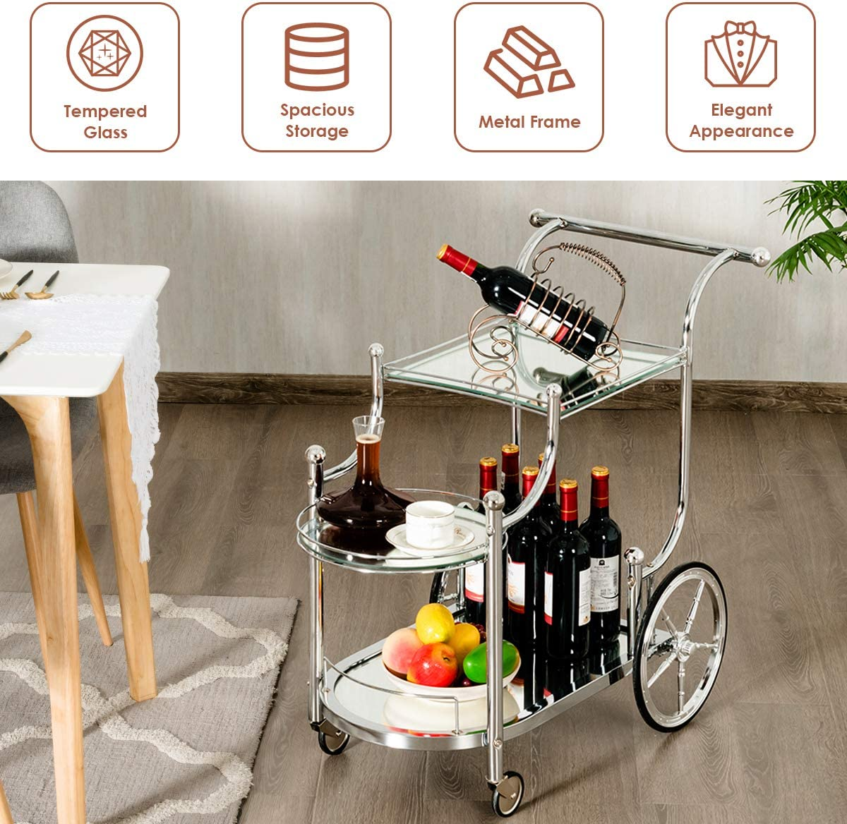 Tangkula Rolling Bar Cart, Metal Serving Cart with Tempered Glass, 3-Tier Glass Bar and Serving Cart, Tea Serving Bar Cart with 4 Wheels Silver