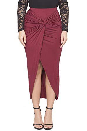 b432193b18 ICONOFLASH Women's Asymmetrical High-Low Tulip Bodycon Midi Skirt  (Burgundy, Small)