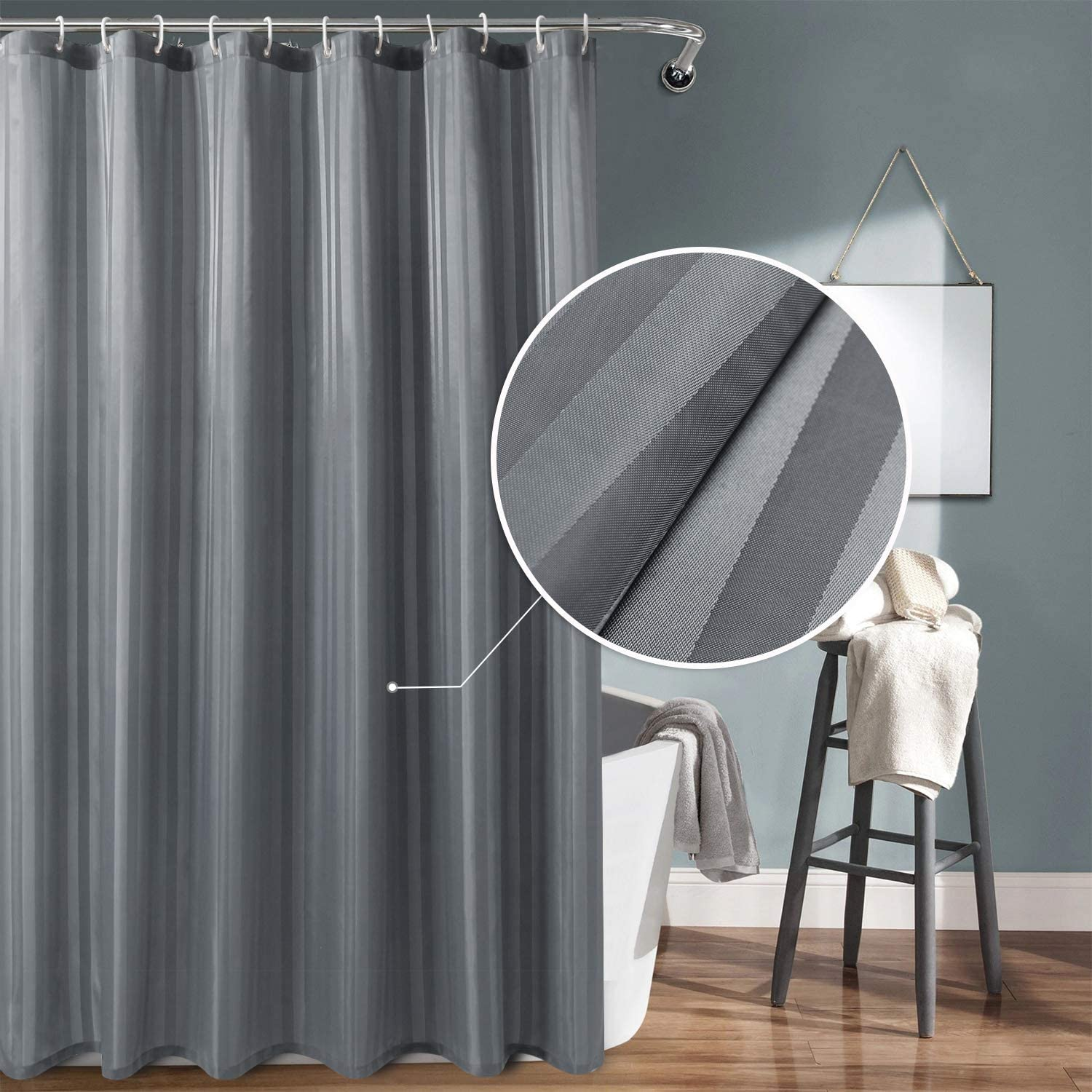 DWCN Grey Fabric Shower Curtain with Hooks - Stripe Patterned Water Repellent Bathroom Shower Curtain 72 x 78 Extra inches Long with Magnets