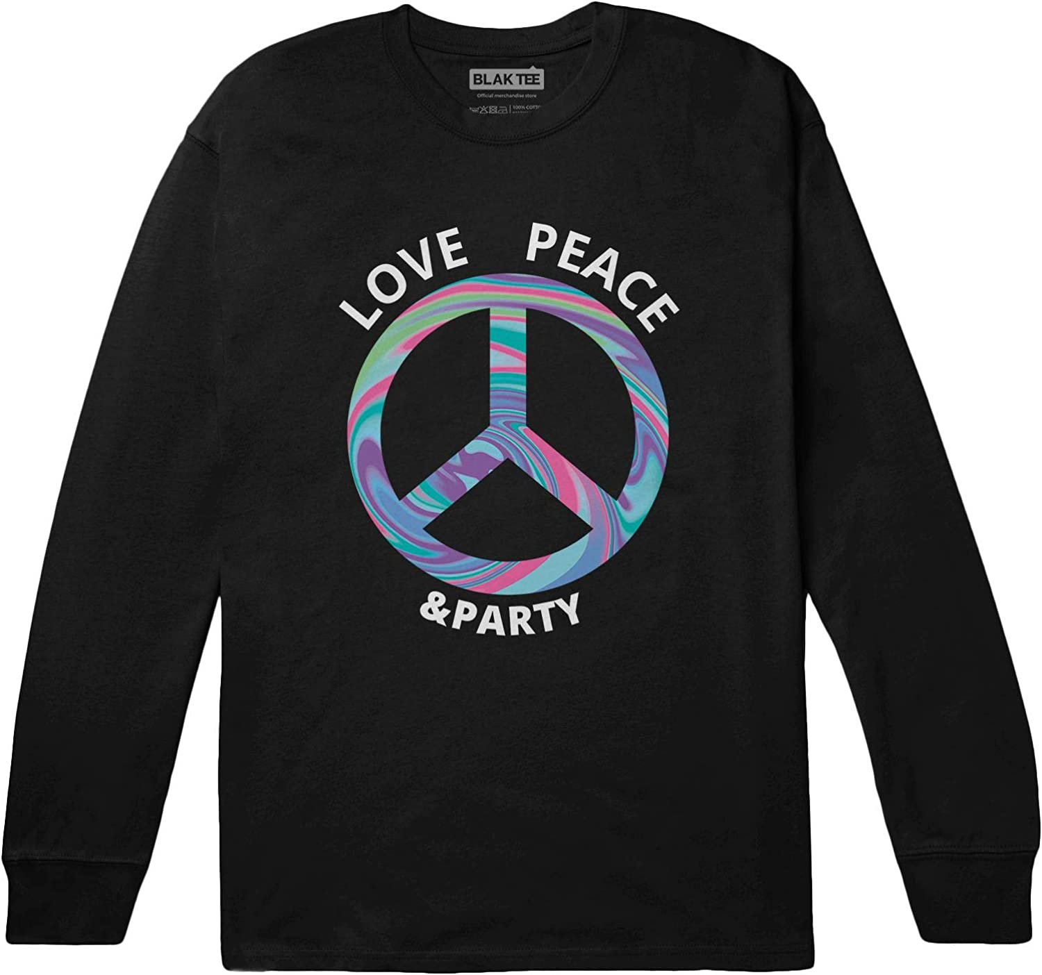 BLAK TEE Uomo Love Peace And Party Psychedelic Peace Sign Maglia a Maniche Lunghe