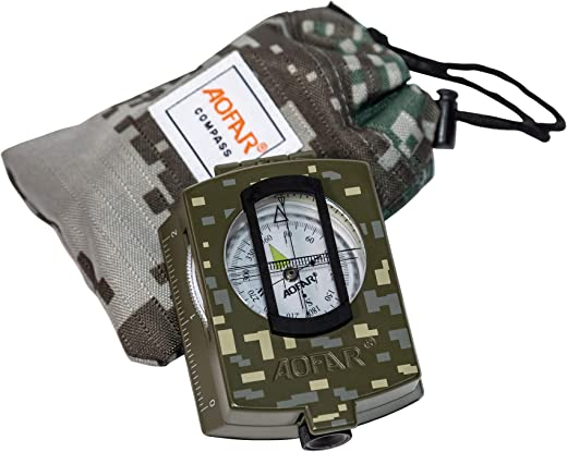 AOFAR Military Compass AF-4580 Lensatic Sighting Navigation, Waterproof and Shakeproof with Map Measurer Distance Calculator, Pouch for Camping, Hiking, Hunting, Backpacking (Camo)