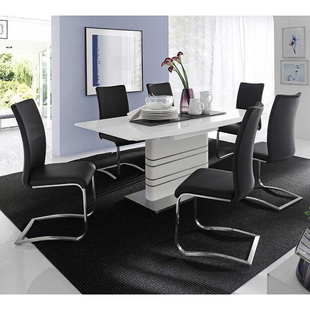 Esszimmer-Tischgruppe Orica in Schwarz-Weiß (7-teilig) Pharao24