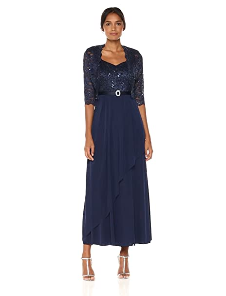 Vintage Evening Dresses and Formal Evening Gowns R&M Richards Womens Two Piece Asymetrical Hankie Detail Jacket Dress Missy $115.19 AT vintagedancer.com