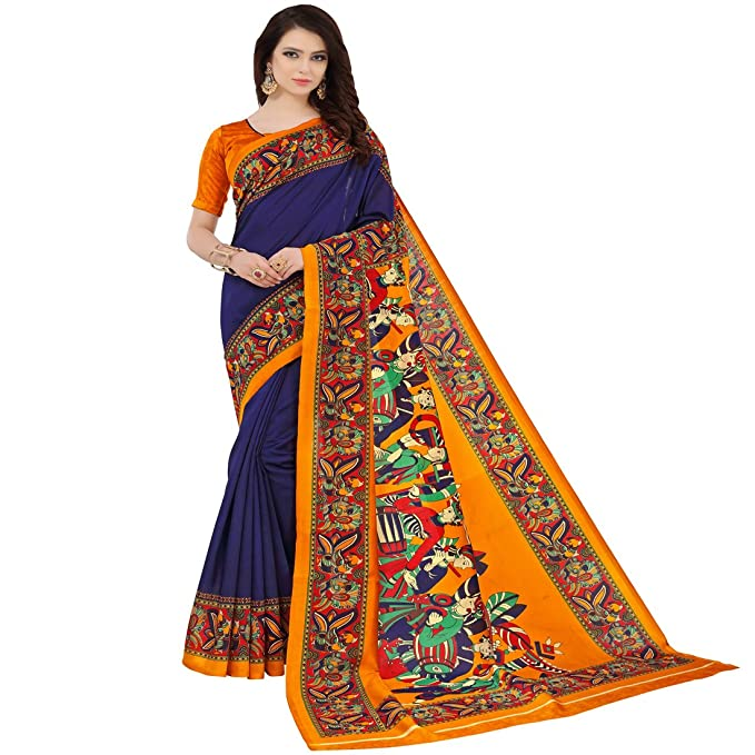 46a64e9bd Indira Designer Silk Saree with Blouse Piece (BARAT-BLUE Blue Free Size)   Amazon.in  Clothing   Accessories
