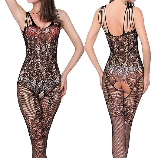 0ea13d911c Image Unavailable. Image not available for. Color  phoenixb2c Women Floral  Open Crotch Mesh Fish Net Body Stocking Lingerie Bodysuit Nightwear