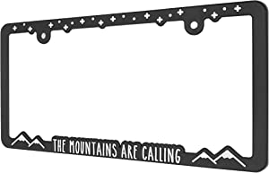 Spiffy Mountain License Plate Frame Holder Bracket for All US/CAN Vehicles | Mountains are Calling | Raised Lettering | Made in The USA | Great Gift for Hiking and Outdoor Sports Enthusiasts