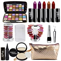 Adbeni Orange Lipstick 4 Pcs, Lipgloss 1Pc, Kajal 1Pc, Eyeliner 1Pc, Compact 1Pc (Assorted), 18 Color Eyeshadow 1Pc (Pad A)