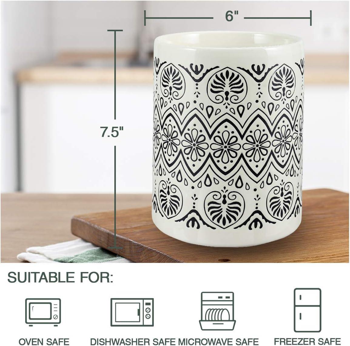 Flatware & Utensil Storage Large Ceramic Utensil Holder Farmhouse ...