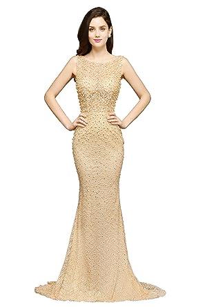 KuDress 2018 Beaded Champagne Chiffon Sleeveless Floor-Length Two-Straps Prom Dress(Customizable