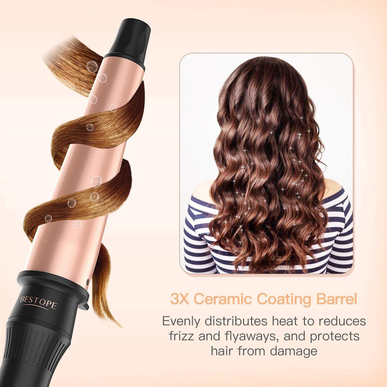 Rizador de pelo de 38 mm, 32 mm, 25 mm, rizador de pelo cónico, cerámica turmalina, gran barril, apagado automático, 160 °C a 220 °C: Amazon.es: Belleza