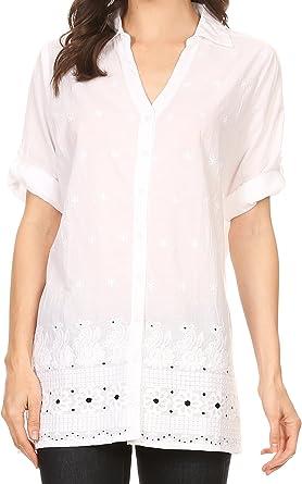 Sakkas 5300 - Cecilia - Camisa con Cuello en V de 3/4 Mangas ...