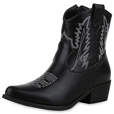 SCARPE VITA Damen Stiefeletten Cowboy Boots mit Trichterabsatz Stickerein