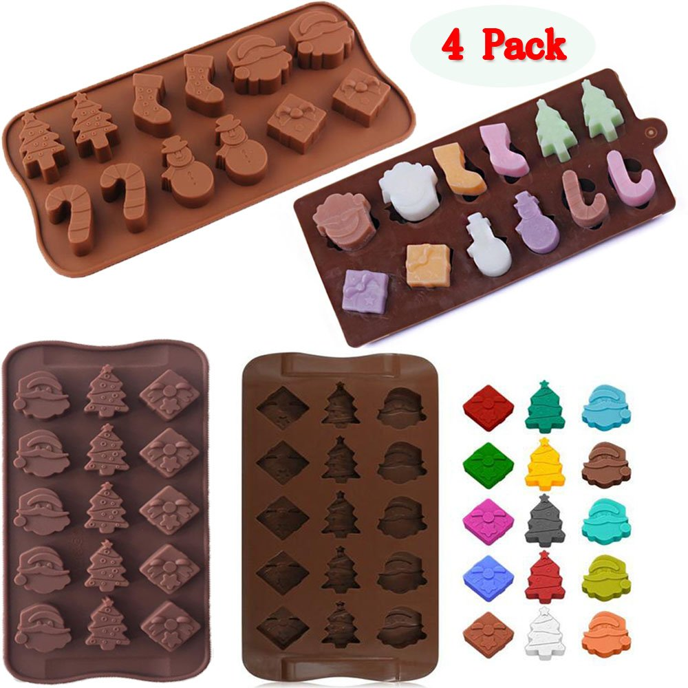(Set of 4)2 Types Christamas Silicone Chocolate Candy Molds Trays,Baking Jelly Molds,Cake Decoration,with Shapes of Christmas Snowman,Gift Box,Christmas Tree, Santa Head
