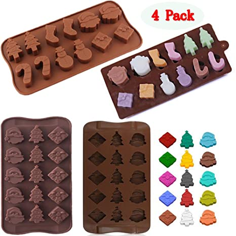 (Juego de 4) 2 tipos Christamas bandejas de silicona chocolate candy moldes, molde