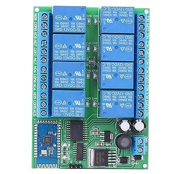 Rel/é de 8 canales 5V Interruptor de rel/é Bluetooth Control remoto M/ódulo de rel/é Rel/é Luz del motor para Android M/óvil