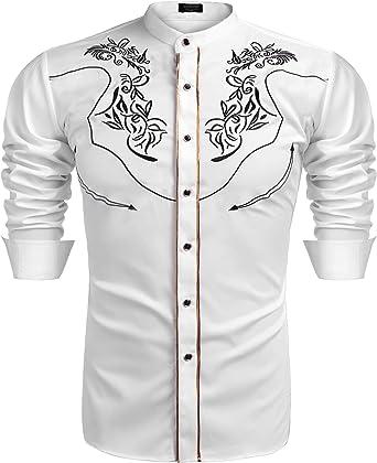 COOFANDY - Camisa vaquera de manga larga para hombre con cuello de Henley y cuello de Henley: Amazon.es: Ropa y accesorios