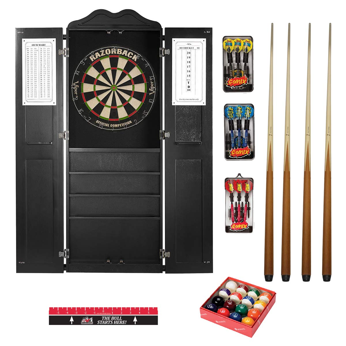 Game Room Guys Steel Tip Dart Board and Billiard Cue Cabinet Package-Black