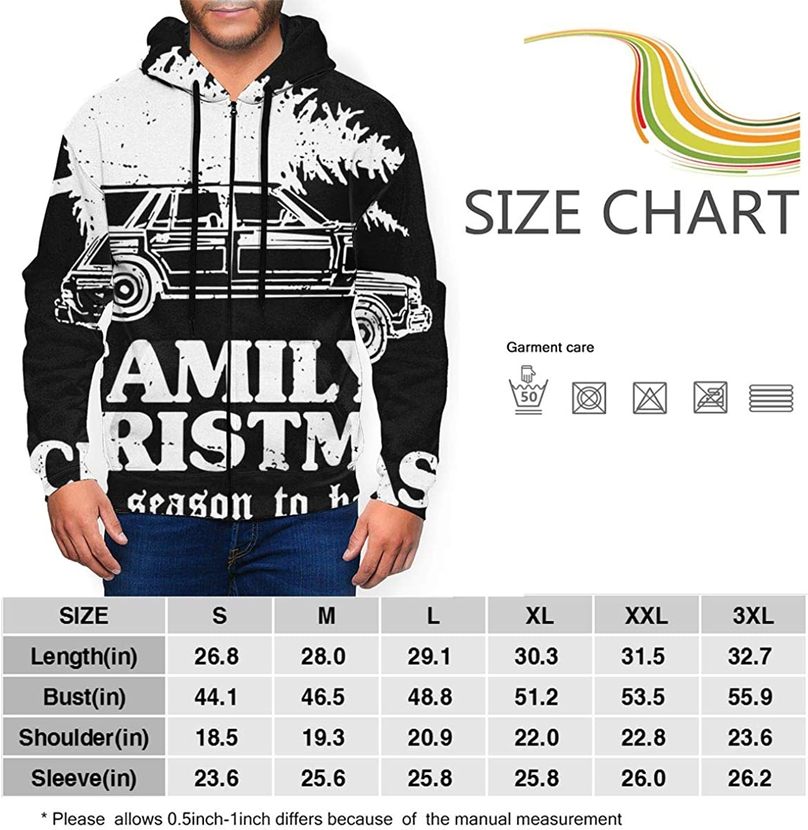 Full-Zip Hooded Sweatshirt, Lian Ming1 Christmas Mens Long Sleeve Hoodie