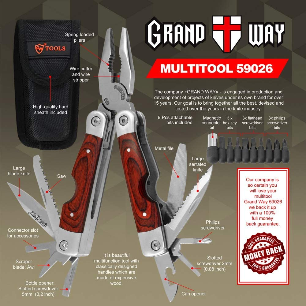 Multitool with Mini Tools Knife Pliers – Best Wooden Handle and Big Attachable Set Bits – Large Utility Multi Function Tool – Good Heavy Ultimate Multi-tool kit for Camping, Hunting – Grand Way 59026