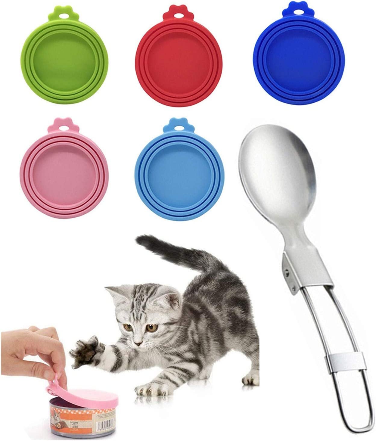 HDCBMCDDM-US 5 Pack Silicone Pet Food Can Covers & 1 Pcs Pet Folding Spoon, Food Grade Silicone Pet Can Lid Universal Food Cover for Dog Cat Can Food