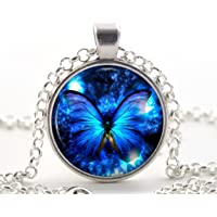 Silver Blue Butterfly Pendant Necklace - Unique Jewellery Art Gift for Women and Girls