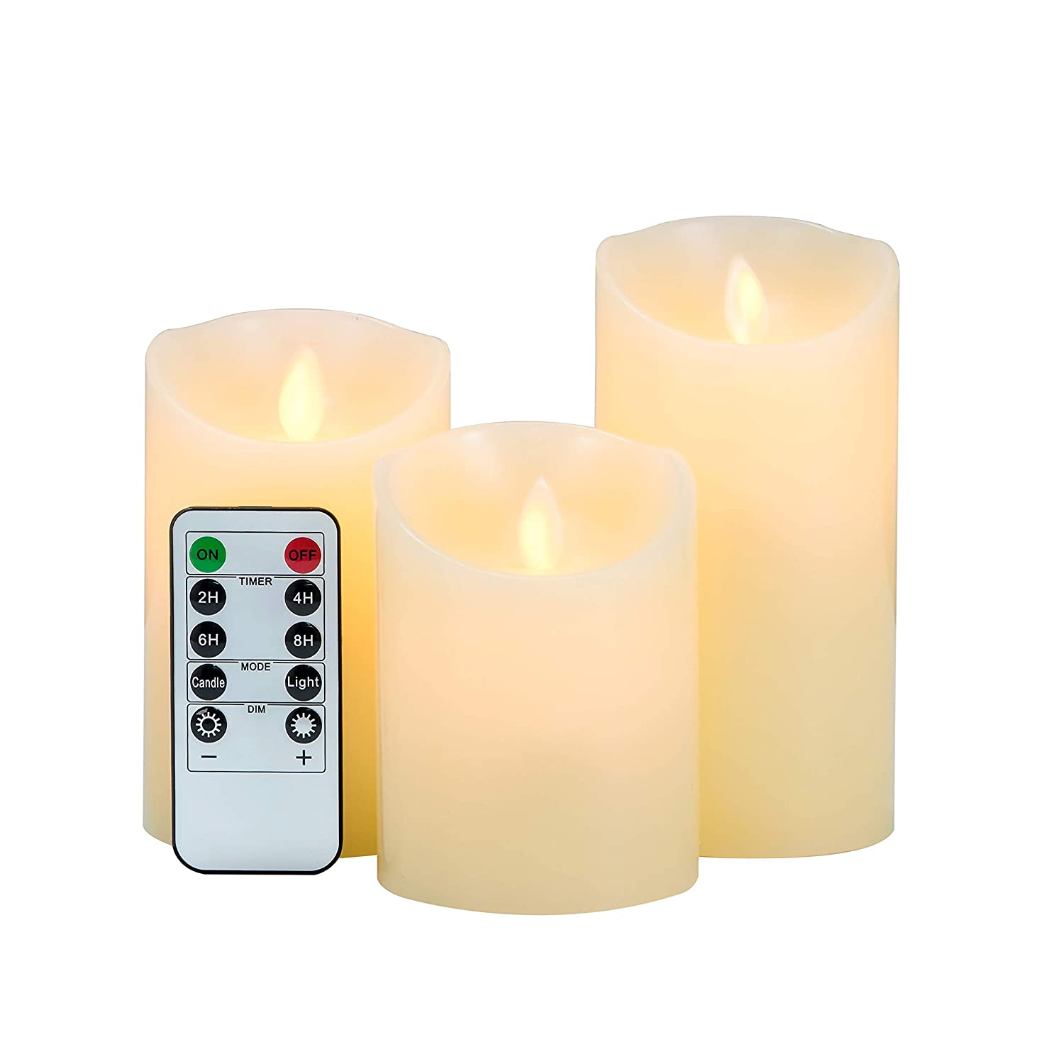 3 Pack LED Flameless Candles LOFTEK Dripless Real Wax Mood Light with Realistic Dancing Flame 10 Key Remote with Timer Cordless Pillars Tea Light 360 Hours Battery Life 4 5 6 Set of 3