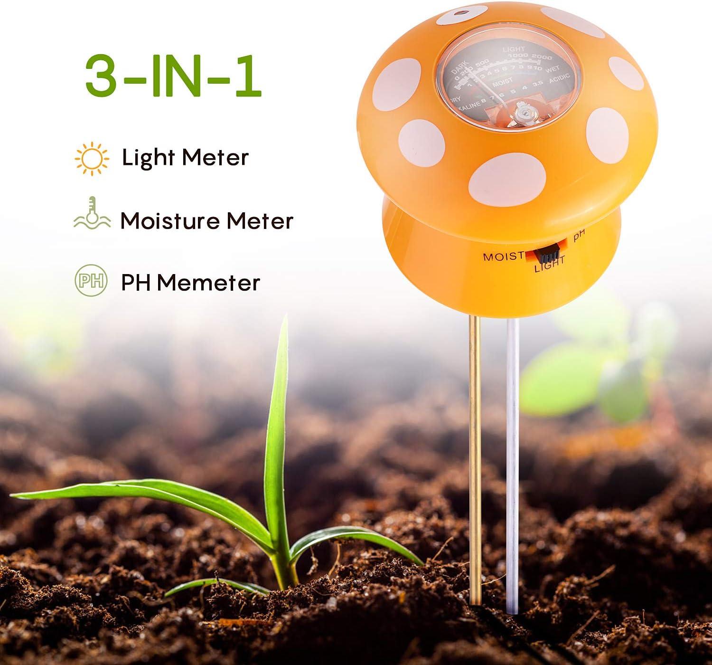 Ulikey Medidor de Suelo, Medidor de Humedad del Suelo, 3 en 1 Probador de Suelo, Medidor de Luz y Medidor de pH para Horticultura,Crecimiento Vegetal, Plantas, Hierbas (No Necesita Batería)