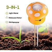 Ulikey 3 en 1 Testeur de Sol Mètre d'Humidité, Lumière, PH - Capteur d'Humidité du Sol pour Jardin, Ferme, Pelouse, Intérieur et Extérieur (Pas Besoin de Pile)