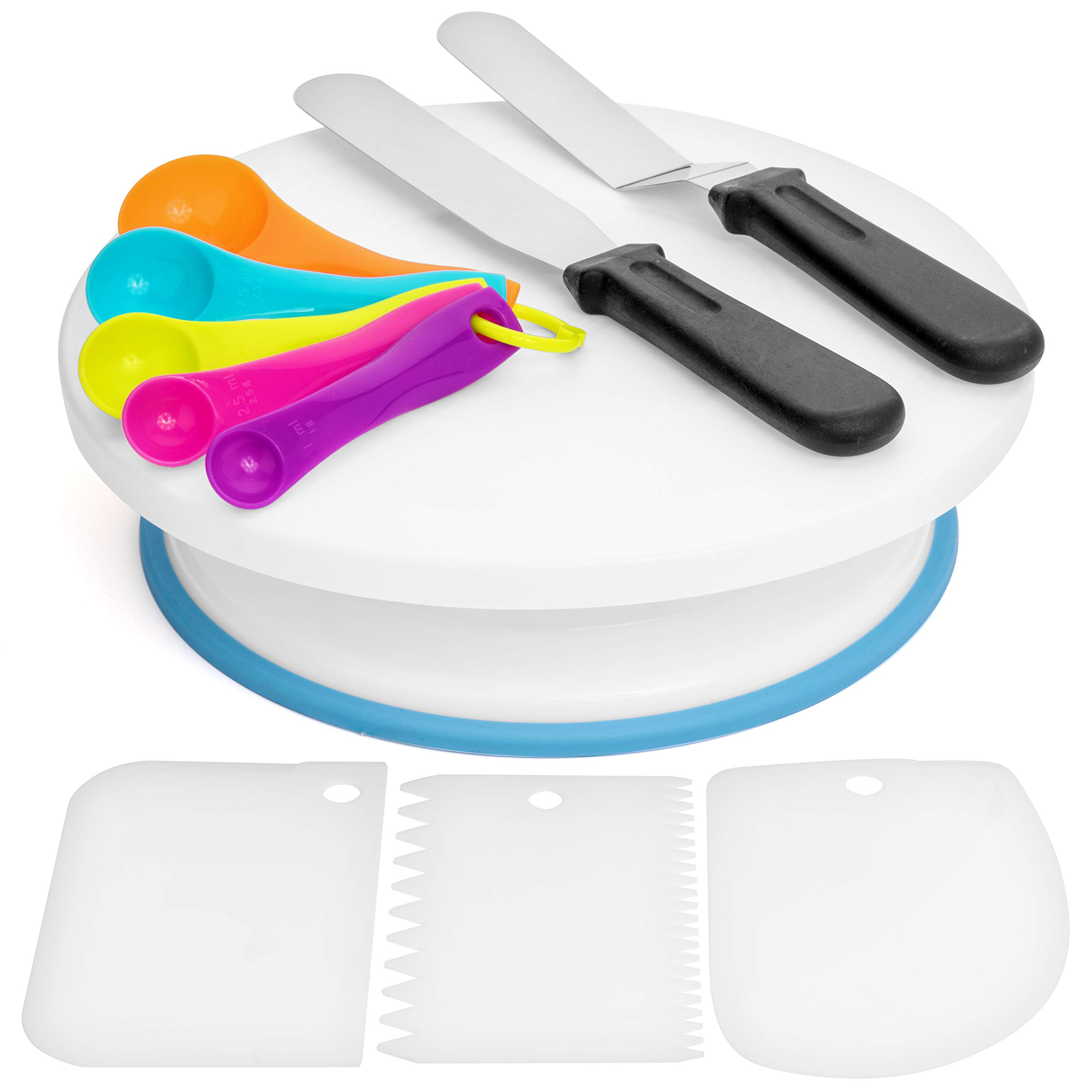 Cake Decorating Supplies Kit by The Unruly Bear - 100+ pc Baking tools set includes turntable stand, piping bags, stainless numbered Icing and Russian tips with coupler, measuring spoons, and MORE! by The Unruly Bear (Image #4)