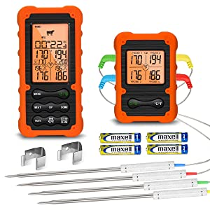Digital Meat Thermometer for Grill Smoker Oven BBQ - Wireless Meat Thermometer for Grilling Smoking - Kitchen Food Thermometer for Cooking with 4 Probes - Remote Monitor Temperature from 490ft Away