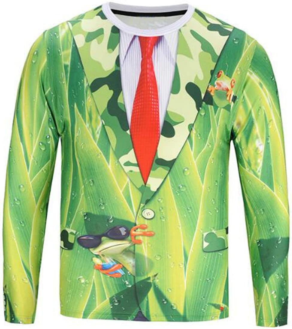 Colygamala Mens Casual Printed Suit /& Tie Tuxedo Long Sleeve T-Shirt 5Color