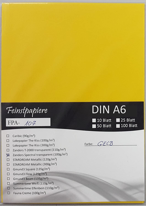 LYSCO® Feinstpapier-Set mit 100 Blatt DIN A6 Transparentpapier Zanders Spectral 100g/m² Farbe gelb transparent exzellente Durchsicht, sehr gute Qualität, mögliche Verwendung: Einladungen, Visitenkarten, Einlegeblätter für Alben